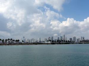 Blick über die Biscayne Bay Richtung Miami Downtown